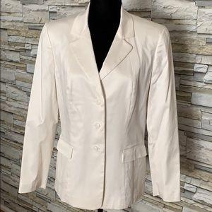 Talbots silk-blend blazer in off white with sheen